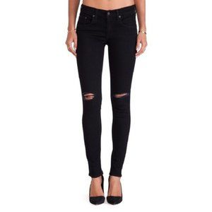 "Rag & Bone Skinny Jeans in Black ""Coal with Holes"""